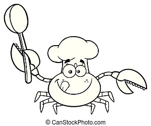 Black And White Crab Chef Cartoon Mascot Character Holding A...