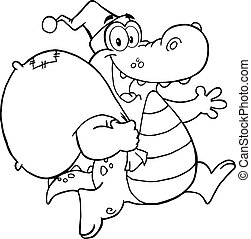 Black and White Crocodile