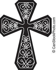 Black and White Cross - black and white cross tribal design