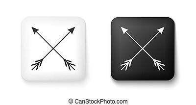 Black and white Crossed arrows icon isolated on white background. Square button. Vector