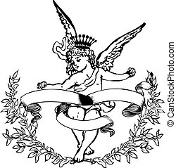 Black And White Crowned Cupid Heraldry. Vector Illustration.