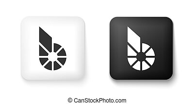 Black and white Cryptocurrency coin Bitshares BTS icon isolated on white background. Physical bit coin. Digital currency. Blockchain based secure crypto currency. Square button. Vector
