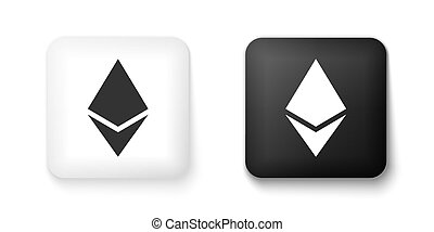 Black and white Cryptocurrency coin Ethereum ETH icon isolated on white background. Digital currency. Altcoin symbol. Blockchain based secure crypto currency. Square button. Vector.