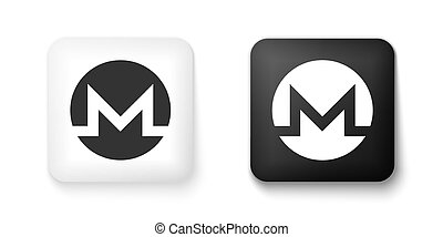 Black and white Cryptocurrency coin Monero XMR icon isolated on white background. Digital currency. Altcoin symbol. Blockchain based secure crypto currency. Square button. Vector.
