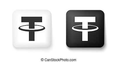 Black and white Cryptocurrency coin Tether USDT icon isolated on white background. Physical bit coin. Digital currency. Blockchain based secure crypto currency. Square button. Vector