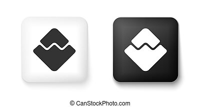 Black and white Cryptocurrency coin Waves icon isolated on white background. Physical bit coin. Digital currency. Blockchain based secure crypto currency. Square button. Vector