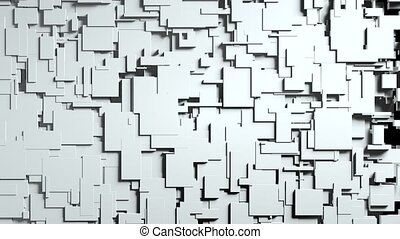 Black and white cubes screen wipe transition with alpha channel.3D animation