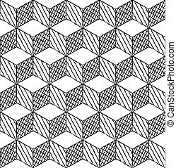Black and white cubes seamless pattern