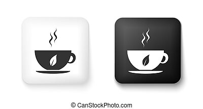 Black and white Cup of tea and leaf icon isolated on white background. Square button. Vector