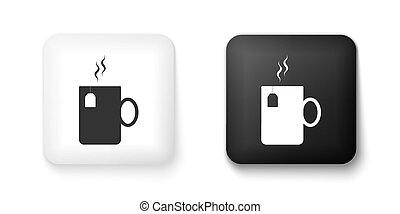 Black and white Cup of tea with tea bag icon isolated on white background. Square button. Vector
