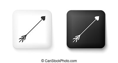 Black and white Cupid arrow heart, Valentines Day cards icon...