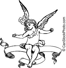 Black And White Cupid Heraldry Banner. Vector Illustration....