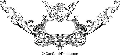 Black And White Cupid Heraldry. Vector Illustration.