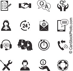 Black And White Customer Support Icon Set
