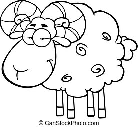 Black And White Cute Ram Sheep