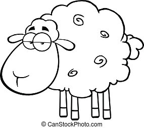 Black And White Cute Sheep