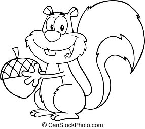Black And White Cute Squirrel Cartoon Mascot Character...
