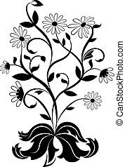 Black and white daisy wheel design element.