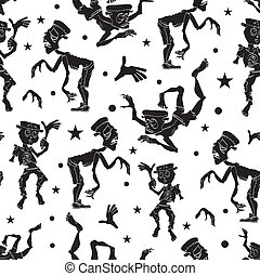 Black and White Dancing Zombies Seamless Pattern. Waving Zombie. Frankenstein costume