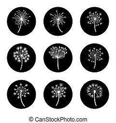 Black and white dandelion icon set