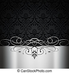 Black and white vintage background with decorative patterns.