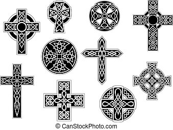 Black and white decorative celtic crosses - Set of black and...