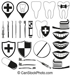 Black and white dental 28 silhouette elements set