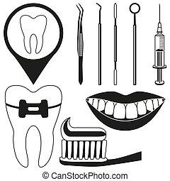 Black and white dental check silhouette set