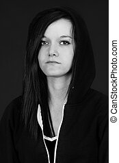 Black and white depressed young woman