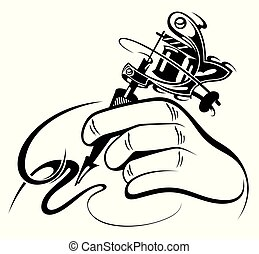 Black and white design of  hand with manual  tattoo machine