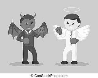 Black and white devil and angel businessman boxing