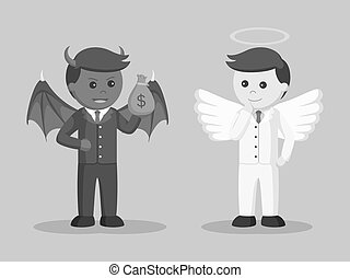 Black and white devil trying to bribe angel businessman