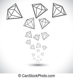 Black and white diamond jewel stones background vector graphic. This illustration shows diamonds in black and grey outlines rising from a source