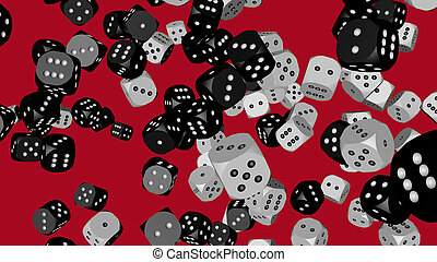 Black and White Dice, 3D illustration on Red