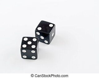 Black and white dice on a white background