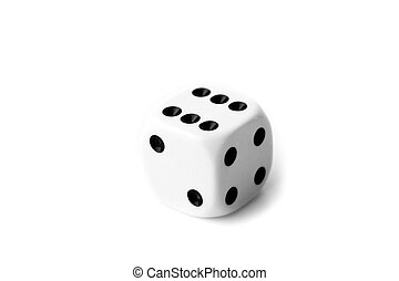 Black and white dice against a white background