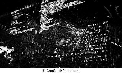 Black and white digital code - Digital composite of black ...