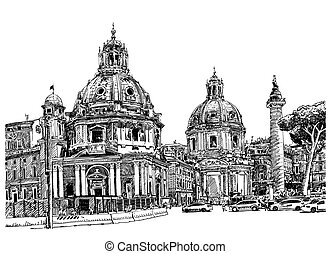 black and white digital drawing of Rome Italy cityscape -...