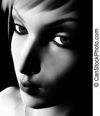 Black and White Digital Female Portrait