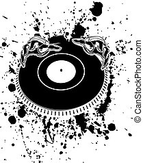 Black And White DJ Hands On Stain.