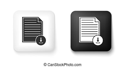 Black and white Document with download sign icon isolated on white background. File document symbol. Square button. Vector