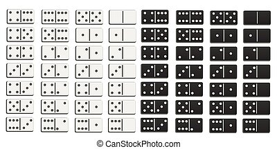 Black and white domino full set in flat design style.