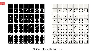 Black and white domino full set in flat design style. Vector illustration