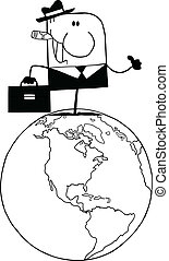 Black And White Doodle Businessman