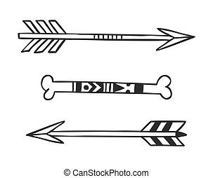 Hand Drawn tribal arrows - Black and White doodle...