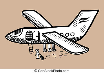 black and white doodle sketch ink drawing of airplane, engraving style