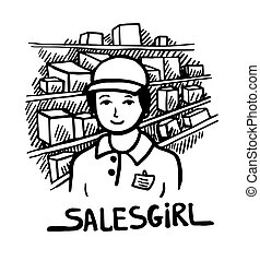 black and white doodle sketch ink drawing of salesgirl, engraving style