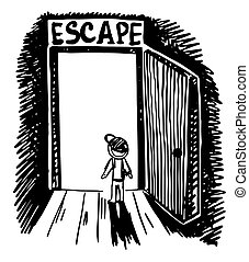black and white doodle sketch ink drawing of escape outside, engraving style