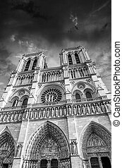 Black and White dramatic view of Notre Dame Cathedral in Paris,