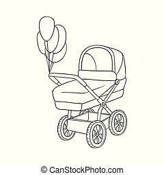 Black and white drawing of baby carriage, pram